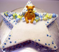 Star Christening Cake by ginas-cakes