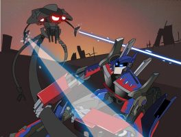 Optimus Prime Vs. Tripod by cartoon-itis