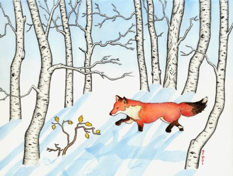 Fox in Snow by gnarlycat