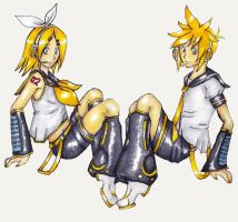 Len and Rin Marker Drawing by About12Kittens
