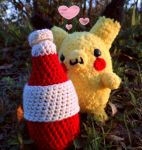 Pikachu and Ketchup Couple by YarnHoardingDragon