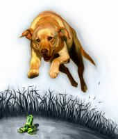 Old Yeller vs Frog by carts