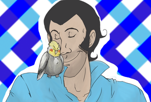 An idiot and his cockatiel by GuruGuruboo
