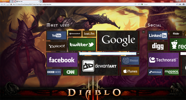 Eight - Diablo 3 Internet Start Page by LoganRen