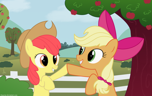 Applejack and Applebloom 1900x1200 Wallpaper by DiegoTan