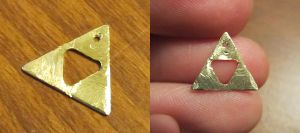 Etched Brass Triforce - small with hollow center by Sarinilli