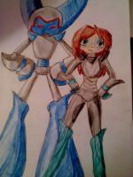 The girl and her robot xD by Franny-draws-shit