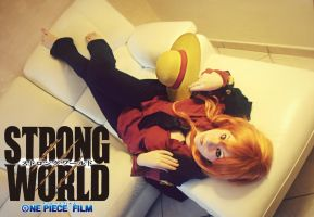 Nami Strong World - Cosplay - In Luffy's Clothes by NamiTheQueen13