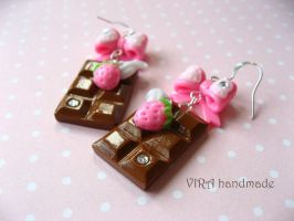 Kawaii chocolate bar earrings by virahandmade