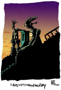 2 bots watching the night sky by Pepedelrey