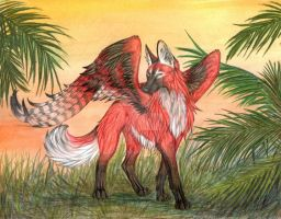 Winged Maned Wolf (color) by CaptainMorwen
