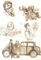 Aziraphale and Crowley sketches by AurelGweillys