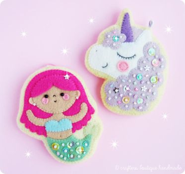 Mermaid and Unicorn Cookie Charms by CraftersBoutique