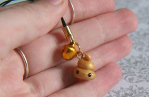 Lucky Golden Poop Phone Strap by RawrRufus