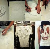 White Skull Style T-shirt Diy Fashion Online by hicustomshirt