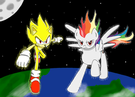 Super Sonic and Super Rainbow Dash: Super Warriors by MegaArtist923