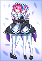 Rem and Ram by meaochi