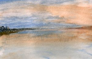 Watercolor: First test by shiprock
