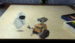 Wall E and Eve 3D + drawingvideo by Saules-dievas