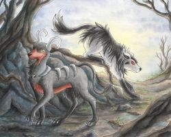 Houndoom and Mightyena