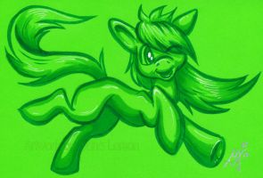 My Little Pony - green neon color card by Zelaphas