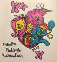 MLP:FiM Pinkie Pie Rainbow Dash Fluttershy color by ScenePika