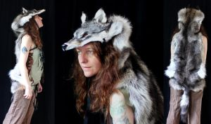 Coyote wolf hybrid headdress by lupagreenwolf