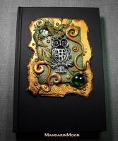 Custom Owl Journal Polymer Clay and Glass by MandarinMoon
