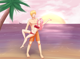 NaruSaku At The Beach by Sukieyo