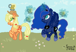 Luna meets her subjects - Applejack by iguana14