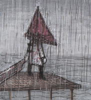 Pyramid Head in the rain by Yamallow