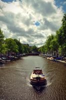 Boat over the canal, Amsterdam by szulyphoto