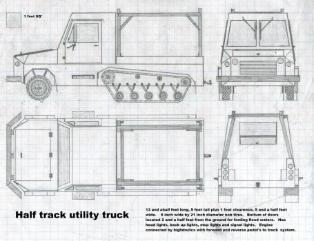 Half track utility truck, revised version. by Sir-Well-Borne