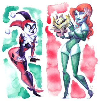 Harley And Ivy Watercolor by victorroa