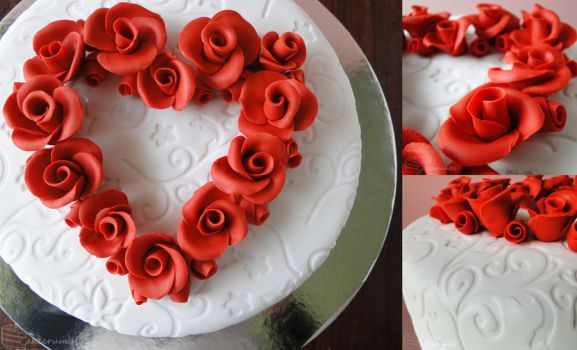 Commission: Heart of Roses Wedding Cake by cakecrumbs