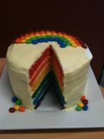 Real Rainbow Cake by kaoticoreo