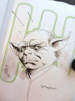 Yoda Con Sketch from Dallas Comic Con by aethibert