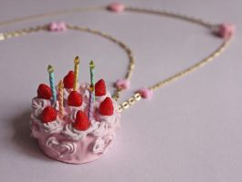 Happy Birthday Cake Necklace by breatheday