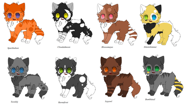 Warrior Cat Adoptables (set 2) by Ask-Hazelfoot