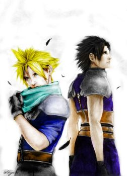 cloud and zack Coloured by Mickey1989