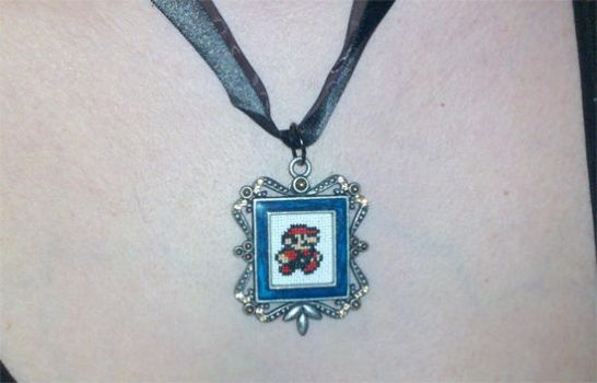 Micro Mario in a Necklace by starrley
