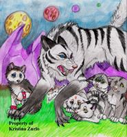 Natsume.the.wolf and pups by NatsumeWolf