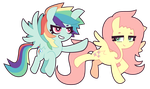 MLP FiM : Rainbow Dash and Fluttershy by nekozneko