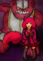 Fox Annie and her armored bear tibbers by cartoonmaniack