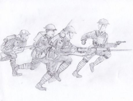 British Infantry Bayonet Charge, 1918 [Re-scan] by VassKholzovf