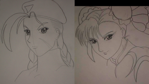 Cammy + Chun-Li Sketches by Amalthea16