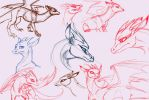 Dragon Sketches by AwesomePonyTail