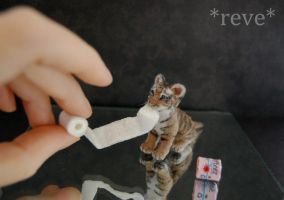 Miniature Tiger Cub * Handmade Sculpture * by ReveMiniatures