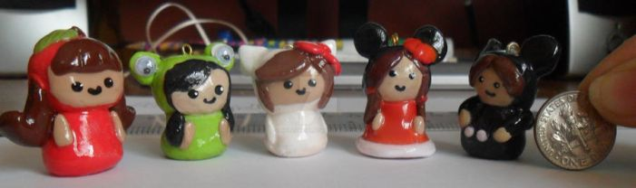 Polymer Clay Chibi Charms by HelloHeidi