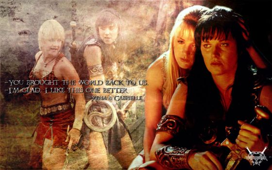 Xena And Gabrielle-Character-Wallpaper by winch3s7er